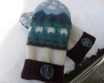 Recycled sweater mittens, felted wool mittens, upcycled sweaters, repurposed sweaters, wool mittens