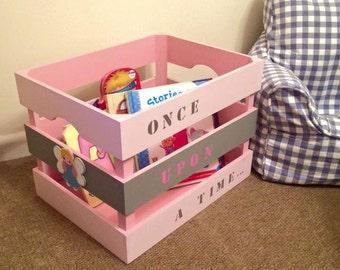 Personalised childrens book crates Medium