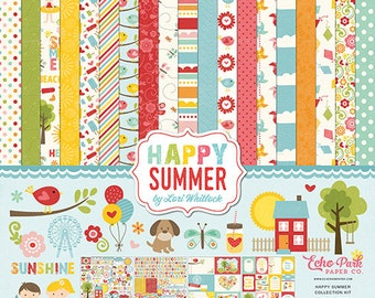 SALE! Echo Park Happy Summer by Lori Whitlock 12x12 Collection Kit - 12 Double-Sided Sheets & 2 Stickers