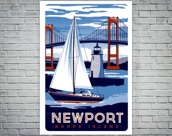 Newport Rhode Island Sailboat Lighthouse Vintage nautical Screen print poster