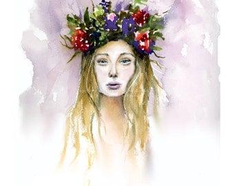 Siren Rising - Print of watercolor painting