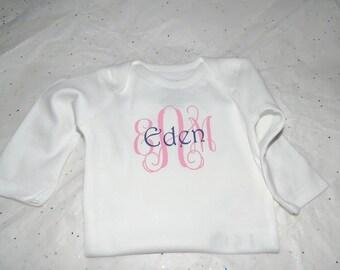 Monogrammed Onesie, Monogram onesie, Personalized onesie or shirt, Cute baby girl onesie, personalized onesie or T-shirt