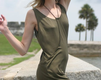 SOLD. Olive green silk 2-piece dress.
