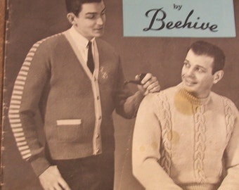 Handknits for MEN Vintage 50's KNITTING Patterns Booklet, BEEHIVE Patons, 29 pages (#705)
