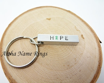 HOPE - Custom Kidney Disease Awareness, Hand Stamped Aluminum Bar Key Chain.
