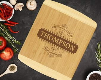 Personalized Two-Tone Bamboo Cutting Board, Custom Engraved Kitchen Gift