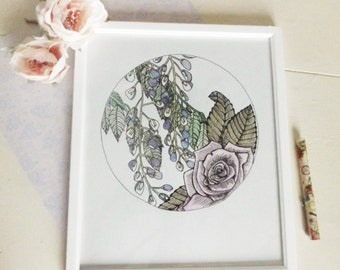 Watercolour and ink /Pastel / lilac / Rose and Wisteria / Hand drawn / Art Nouveau inspired / illustration / drawing / White framed / Home