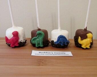 DINOSAUR Marshmallow Pops (12) - DINO Party/T-REX Favors/Dinosaur Favors