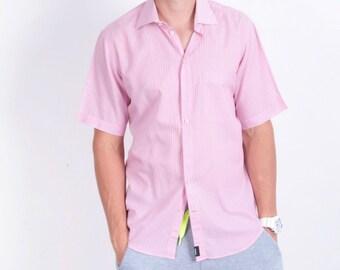 Strellson Mens 40 L 15 3/4 Casual Shirt Pink Striped Cotton Short Sleeve