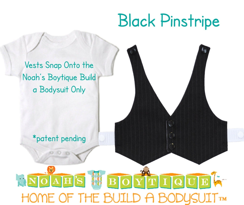 9ad833f381a2 Black Pinstripe Baby Vest - Baby Tuxedo Vest - Baby Boy Wedding Vest - Baby  Boy