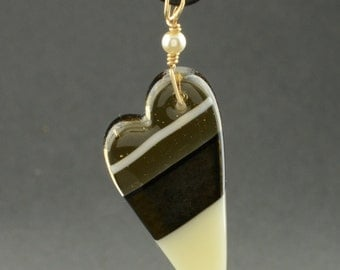 Tan, Cream and Gold Fused Glass Heart Necklace