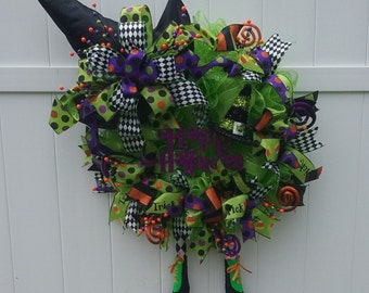 Witch Leg Wreath, Halloween Wreath, Deco Mesh Wreath, TRICKS NOT TREATS Deco Mesh Witch Leg & Hat Extra Large Front Door Wreath