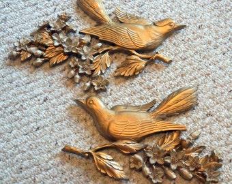 Vintage Gold Birds  - Set of Two