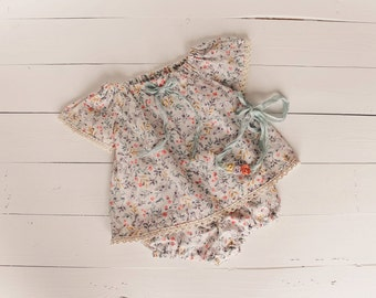 Floral Sitter Set Photo Props Baby Girl 6-12 months SitterSet Vintage Inspired Tie-back Photography Props Baby Clothes Infant Girl Clothes