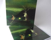 """Single Greetings Card of an original painting: """"The Lord of the Animals Returns"""""""
