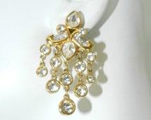 Christmas in July Sale Swarovski Signed Crystal Gold Chandelier Earrings, Bridal Jewelry, Swarovski Swan, Costume Vintage Jewelry, Fashion S