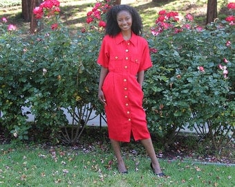Red & Gold Buttons Shirt Dress