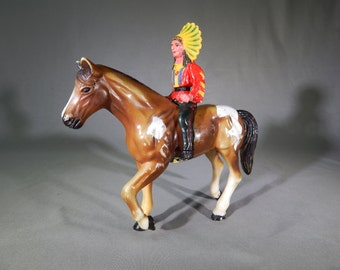 Great Vintage Indian on Horse Toy - Action Figure, Circa 1950s - 1960s