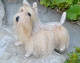 Needle Felted Wheaten Scottish Terrier, Wheaten Scottie, Felted Scottie, Felted Dog