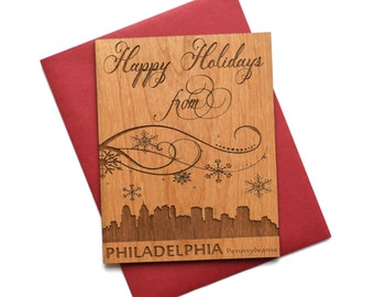 Philadelphia Holiday Cards -  Christmas Card with Philadelphia City Skyline - Mini Card - Letters M thru P