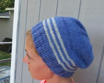 Woman's wool handknit hat in purple with grey stripes