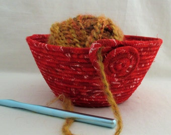 Handmade Fabric Wrapped Clothesline Coiled and Machine Stitched into a Knitting, Crochet, Yarn Bowl, Portable Craft Container (KB1424)