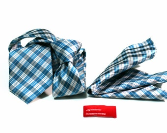 Tie (3 inch wide) and FREE Pocket Square in Plaid Checks with Turquoise and Grey
