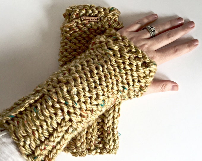 SALE! Honey Gold with Autumn Flecks Fingerless Mittens and Arm Warmers, Mustard Yellow, Olive Green, Turquoise, Berry and Orange