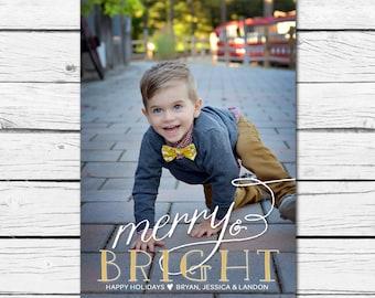 Gold Foil Christmas/Holiday Photo Card- Printable