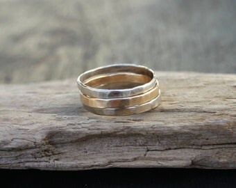 Hammered gold ring. White gold ring. Hammered gold wedding band 2mm 14k gold stacking rings. Solid gold ring set. Stackable. Handmade Unique