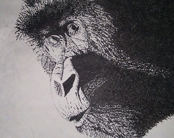 "Animal Fine Art Print Stippling Drawing // ""Gorilla Love"""