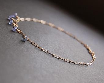 Tanzanite Half Shaker Anklet - gold anklet, gold drop anklet, delicate anklet, dainty anklet, gold filled anklet, gemstone anklet