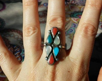 Mother of Pearl, Turquoise and Spiney Oyster Ring Size 7.5
