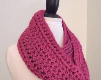 SALE Infinity Scarf Cowl Knit Dark Hot Pink Raspberry Long Knit Chunky Crochet Infinity Scarf Cowl Handmade Crochet Infiniti Scarf Ready to