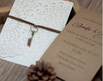 Kraft Lasercut Wedding Invitation - Printed Card - Digital File