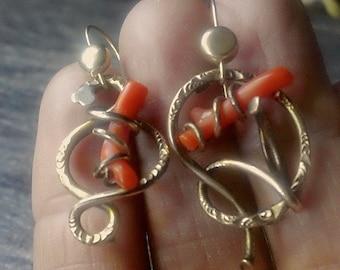 Victorian Coral Branch OOAK Love knot Earrings