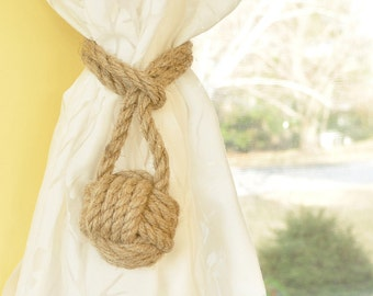 Single Hemp Monkey Fist Curtain Tieback - Rustic Decor - Beach Decor