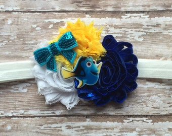 Adorable Finding Dory Headband- Blue, White & Yellow chiffon flowers with a Dory accent on a White headband (Baby,Toddler,Childrens,Girls)