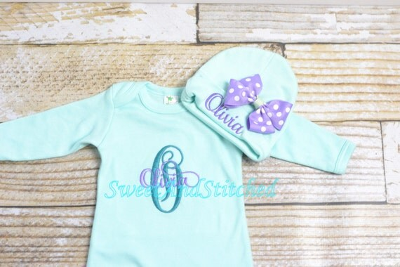 Personalized newborn gown in mint green, baby girl take home hospital outfit green and purple, newborn hat with name, monogram baby girl