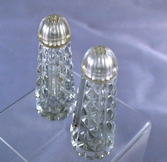 Salt Pepper Shakers Elegant Tall Heavy Crystal Glass Formal
