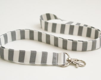 Gray and White Striped Fabric Lanyard with Swivel Clasp - Cute Lanyard - Nurse or Teacher Lanyard - 3/4 Inch Wide Key Strap - 19.5 Inch Drop