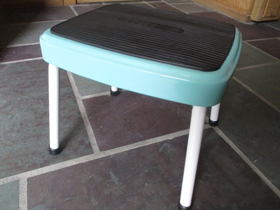 Vintage Cosco Stylaire Restored Steel Step Stool Aqua