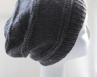 Grey Slouchy Hat Adult Size Cap Cashmere Blend Ready to Ship