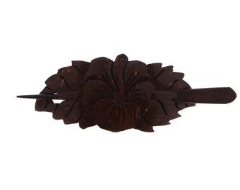 Big flower with leaf hair barrette, coconut shell hair clip, bali carving, hair accessories
