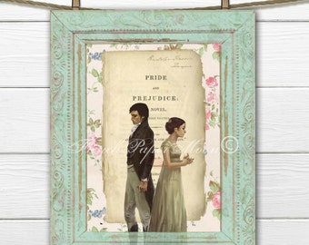 Digital Download Shabby Jane Austen, Pride and Prejudice Digital Image, Jane Austen Digital Sheet, Regency Collage