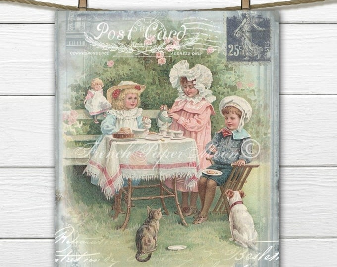Digital Vintage Tea Party, Children's Tea Download, Victorian Tea Collage, Postcard Digital Image, French Fabric Transfer Graphic