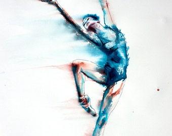 Ballerina watercolor art print. Wall art, wall decor, digital print. Young and Beautiful