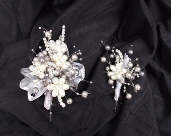 Grey and ivory pearl corsage and boutonniere SET, mother of the bride wrist corsage, elegant wedding corsage, prom flowers,