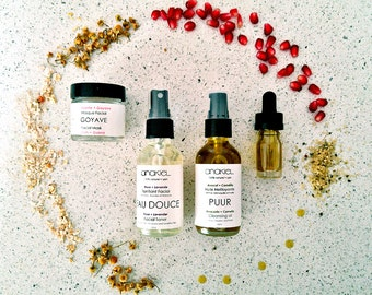 ULTIMATE Travel size Organic Facial Skin Care Set. 100% Natural. Normal + Dry + Mature Skin care gift set. Face Serum. Toner. Face Mask.