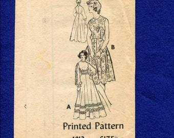 Vintage 1970's Retro Country Wedding Dress with Ruffle Trim Mail Order Printed Pattern 4912 Size 18 UNCUT